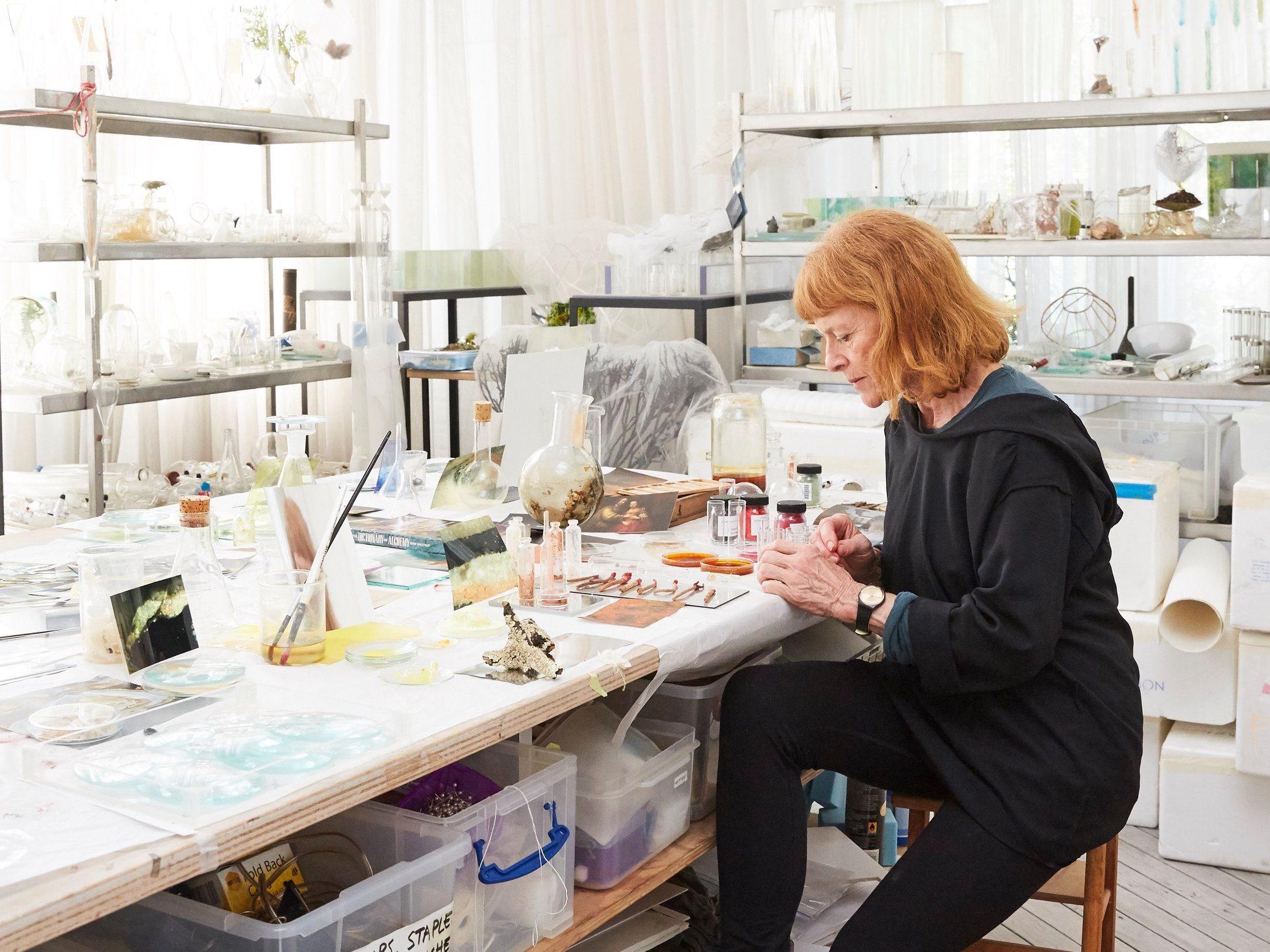 Janet Laurence in the studio Photograph Felicity Jenkins