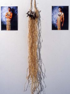 Image: Christian Thompson, Urban Murri's (1999), digital images, raffia, magpie feathers