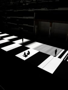 "Image: Ryoji Ikeda, ""test pattern [no.5]"", 2013, audiovisual installation at Carriageworks. Commissioned and presented by Carriageworks and ISEA2013 in collaboration with Vivid Sydney. Photograph Zan Wimberley."