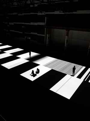"Ryoji Ikeda, ""test pattern [no.5]"", 2013, audiovisual installation at Carriageworks. Commissioned and presented by Carriageworks and ISEA2013 in collaboration with Vivid Sydney. Photograph Zan Wimberley."