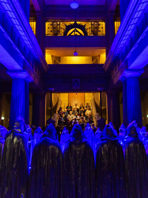 Michaela Gleave's performance A Galaxy of Suns featured a 33-part local choir 'singing' the stars. Photograph Sia Duff