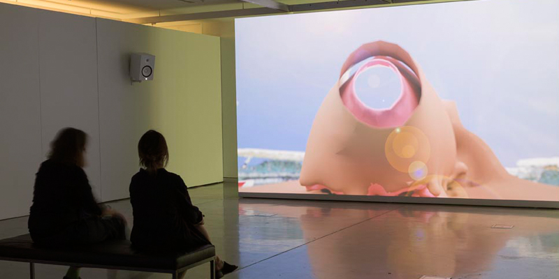Baden Pailthorpe, Clanger (longitude, latitude, decibels), [installation view] 2018. HD video, 4.1 channel surround sound. 06.30 mins. Photo: Jessica Maurer