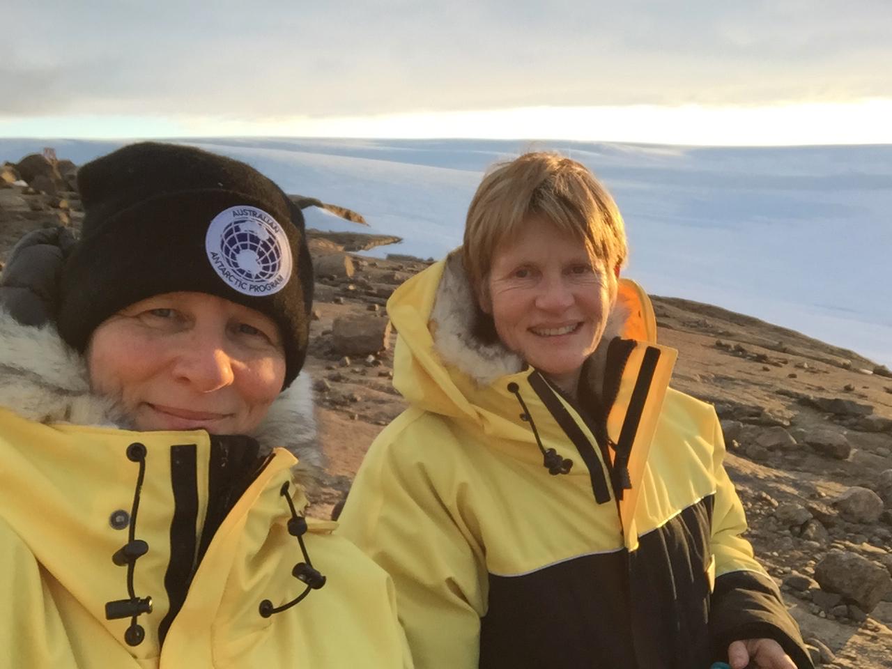 Jane Allen and Dr Jesse Blackadder, 2018 Australian Antarctic Arts Fellows. Image courtesy Jesse Blackadder.
