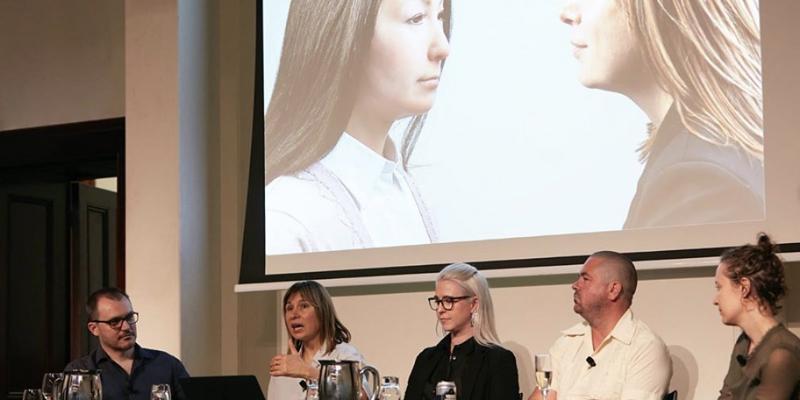 ANAT SALON Sydney moderator Ariel Bogle speakers Prof Mari Velonaki, Dr Belinda Dunstan, Justin Harvey and Dr Wade Marynowsky. Photograph Zan Wimberly
