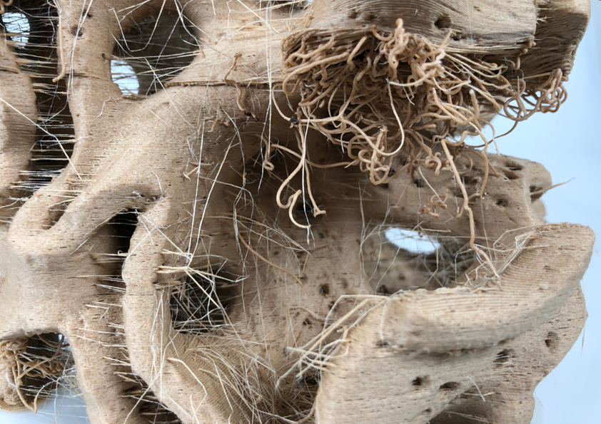 Natalie Alima 'BioHybrids'. Large scale 3D printed fabricated out of Wooden biodegradable PLA.