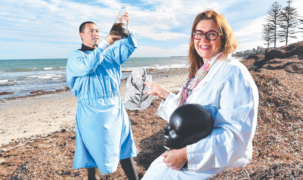 Flinders University's Peng Su with ANAT Synapse resident Niki Sperou. Photograph Keryn Stevens Flinders University's Peng Su with ANAT Synapse resident Niki Sperou. Photograph Keryn Stevens.