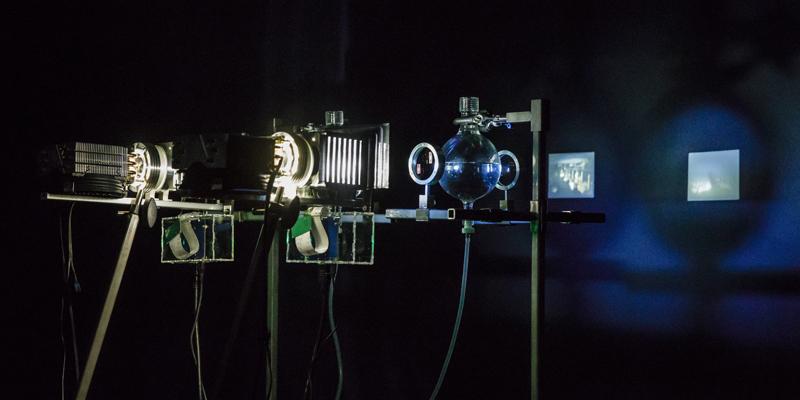 Deirdre Feeney, Hollow Lens, 2019, steel, LCD screens, water, glass, aluminium, stepper motor, pump, rasberri pi, arduino, LED. Dimensions variable. © Deirdre Feeney. Photograph Andrew Sikorski. 2020 ANAT Synapse resident.