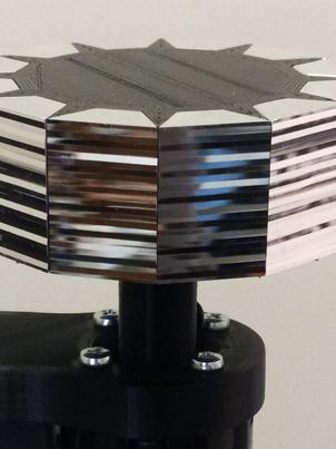 Deirdre Feeney, 12-sided polygon, nano-lathe cut facets, 3D-printed PLA jig, 2020. Image courtesy the artist.