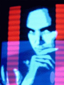 Image: Tim Gruchy, Video portrait (1982) – still, (video synthesis by Stephen Jones, photograph by Pam Greet)